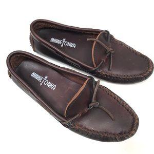 Minnetonka Brown Leather Moccasins 6.5